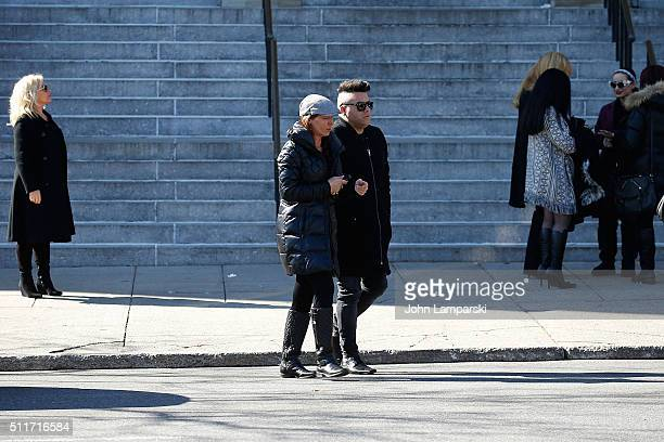 Drita D'Avanzo and johnny Donovan attend the Funeral Service held for Angela Big Ang Raiola on February 22 2016 in New York City