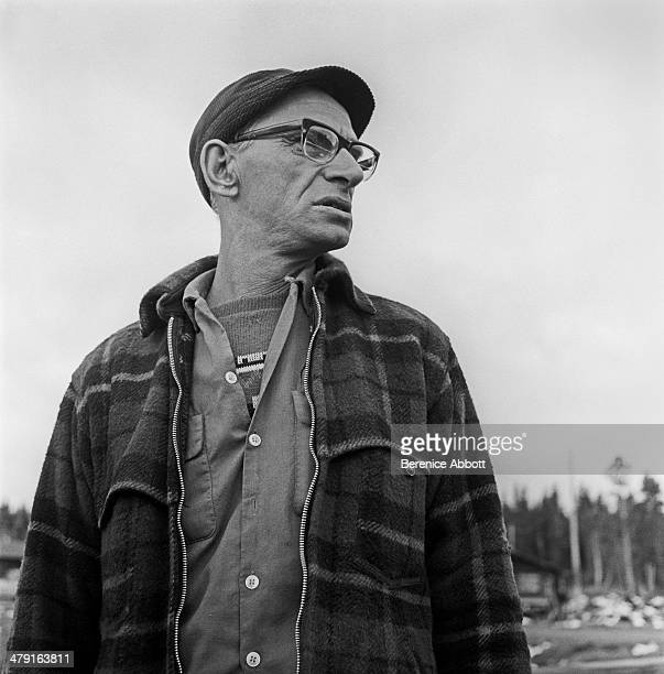 Drive boss relaxes in camp United States circa 1950 Abbott took two series of logging photographs the first in the High Sierra Mountains in 1943 and...