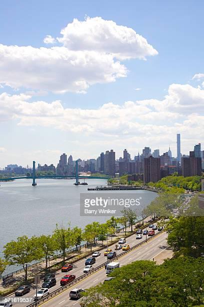 fdr drive, east river and residential towers, ny - east harlem - fotografias e filmes do acervo
