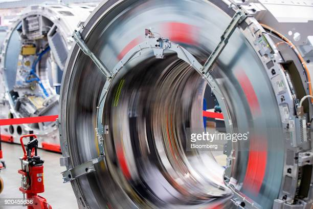 A drive mechanism rotates during the testing of a Siemens Somatom computerized tomography scanner machine at the Siemens AG Healthineers factory in...