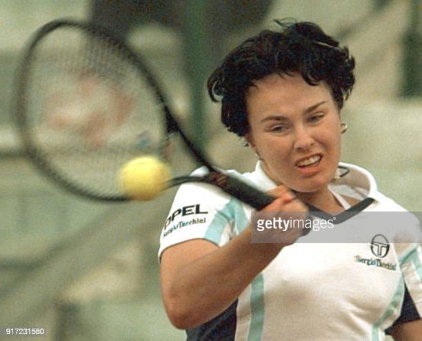 Drive of the number one champion the Swiss Martina Hingis playing against the Rumanian Irina Spirlea during the third round of the Italian Open...