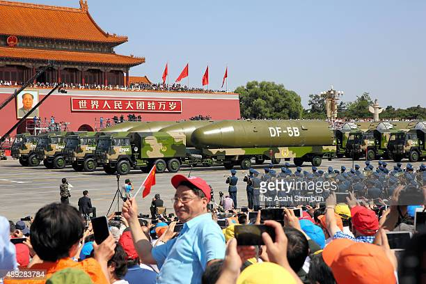 ICBM 'DF5B' drive past the Tiananmen Square during a military parade on September 3 2015 in Beijing China China is marking the 70th anniversary of...