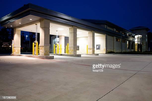 Drive thru banking. Bank, ATM. Night.