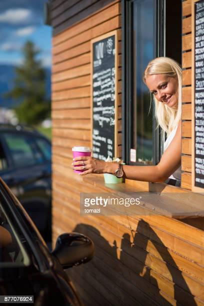 Drive-in caffe female clerk