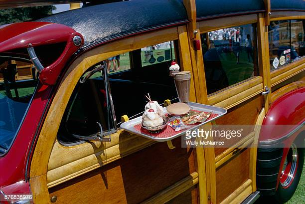 drive-in lunch on classic woodie station wagon - republican national convention stock pictures, royalty-free photos & images