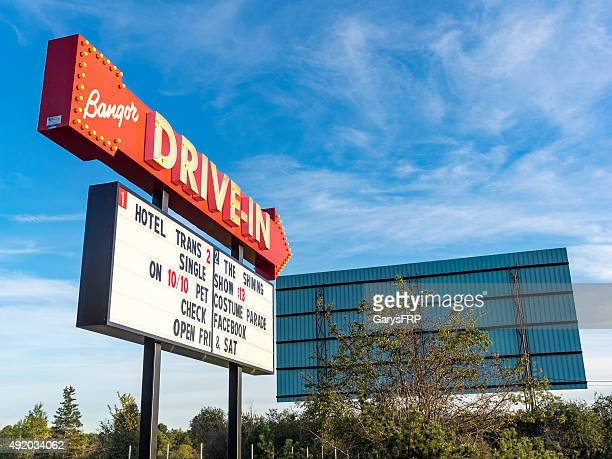 drive-in move billboard sign and screen in bangor maine - drive in movie stock pictures, royalty-free photos & images