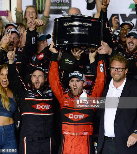 NASCAR driver Austin Dillon and his team celebrate their victory in the 60th Daytona 500 race on February 18 at Daytona International Speedway in...