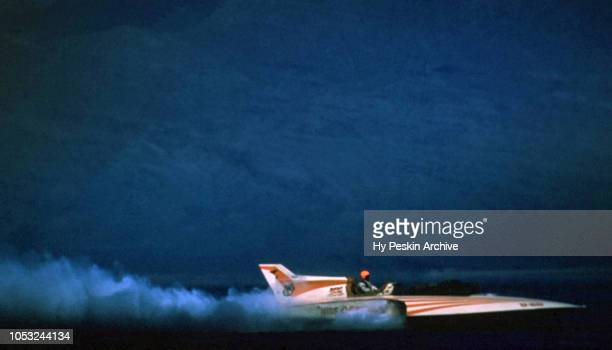 Driver Bill Muncey in the Miss Century 21 U60 boat races on the water during the Gold Cup Motorboat race on August 26 1961 in Pyramid Lake Nevada