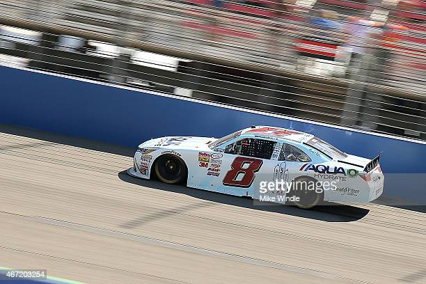 Driver Blake Koch races during the Drive4Clotscom 300 with AQUAhydrate and Koch Racing at Auto Club Speedway on March 21 2015 in Fontana California