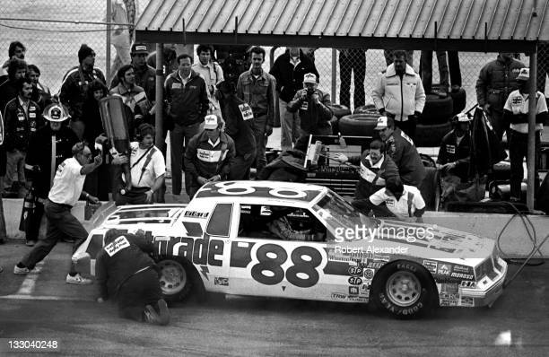 NASCAR driver Bobby Allison driving the Gatorade car makes a pit stop during the 1982 Daytona 500 at the Daytona International Speedway on February...