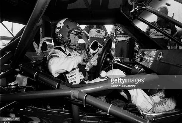 NASCAR driver Bobby Allison prepares for the start of the 1985 Daytona 500 at the Daytona International Speedway on February 17 1985 in Daytona Beach...