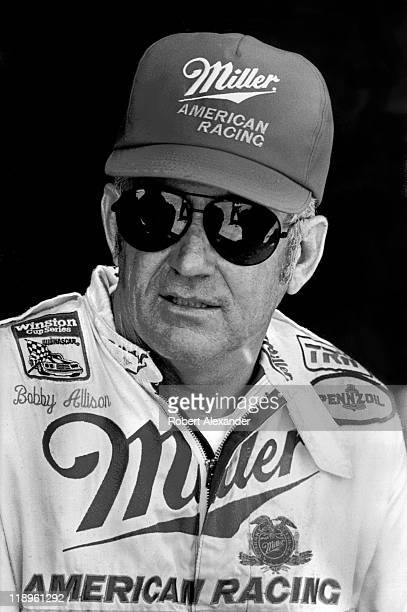 NASCAR driver Bobby Allison talks with reporters in the Daytona International Speedway garage prior to the start of the 1987 Daytona 500 on February...