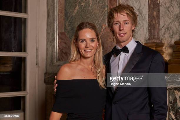 F1 driver Brendon Hartley and his wife Sarah Hartley is photographed for Paris Match on December 2017 in Paris France