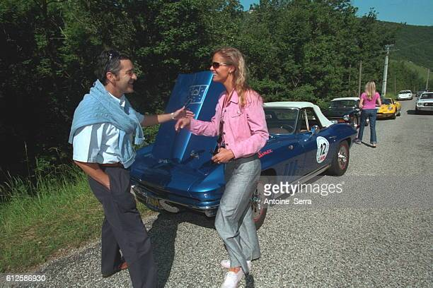Driver Bruno Saby with the winner of the 2001 rallye des princesses