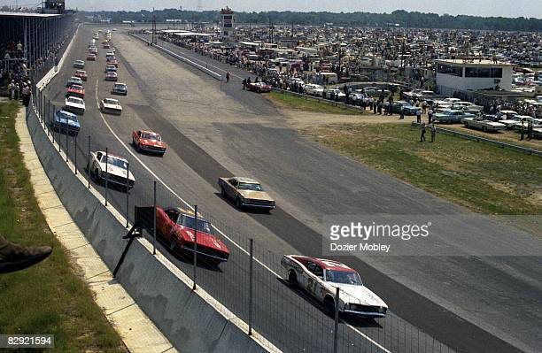 Driver Cale Yarborough races his Mercury to victory in the 1968 Southern 500 at Darlington Raceway in Darlington, South Carolina on September 2, 1968.
