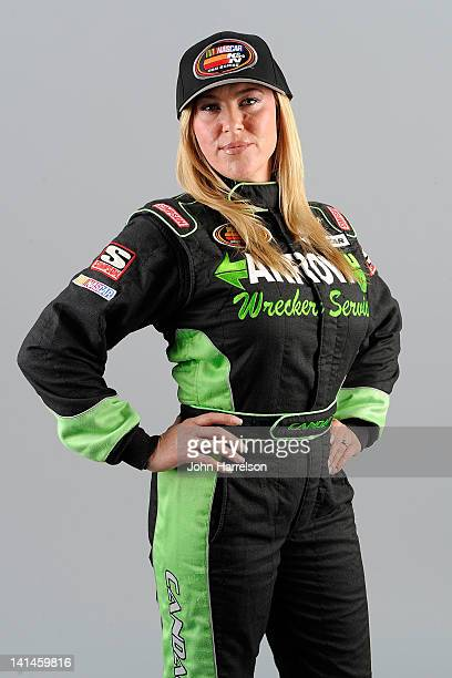 Driver Candace Muzny poses during a portrait session for the KN Pro Series East at Bristol Motor Speedway on March 16 2012 in Bristol Tennessee