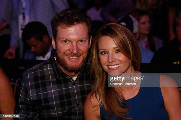 NASCAR driver Dale Earnhardt Jr and girlfriend Amy Reimann in attendance at UFC 196 event inside MGM Grand Garden Arena on March 5 2016 in Las Vegas...