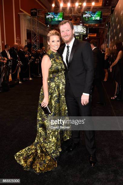 NASCAR driver Dale Earnhardt Jr and his wife Amy attend the Monster Energy NASCAR Cup Series awards at Wynn Las Vegas on November 30 2017 in Las...