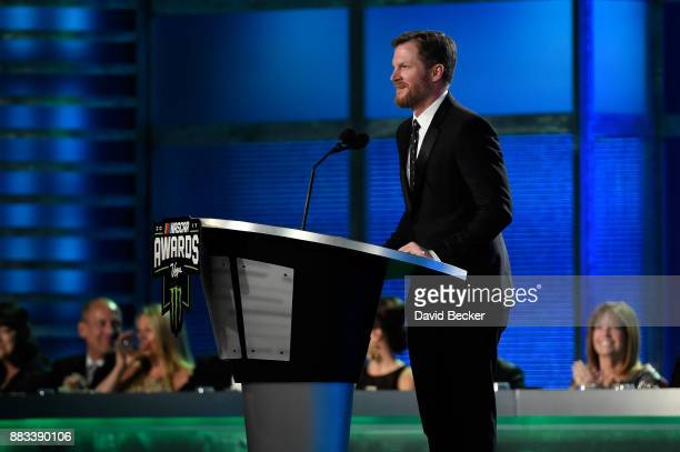 NASCAR driver Dale Earnhardt Jr attends the Monster Energy NASCAR Cup Series awards at Wynn Las Vegas on November 30 2017 in Las Vegas Nevada