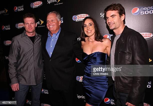 NASCAR driver Dale Earnhardt Jr Hendrick Motorsports president Rick Hendrick President of Auto Club Speedway Gillian Zucker and NASCAR driver Jeff...