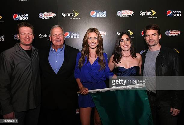 NASCAR driver Dale Earnhardt Jr Hendrick Motorsports president Rick Hendrick actress Audrina Patridge President of Auto Club Speedway Gillian Zucker...