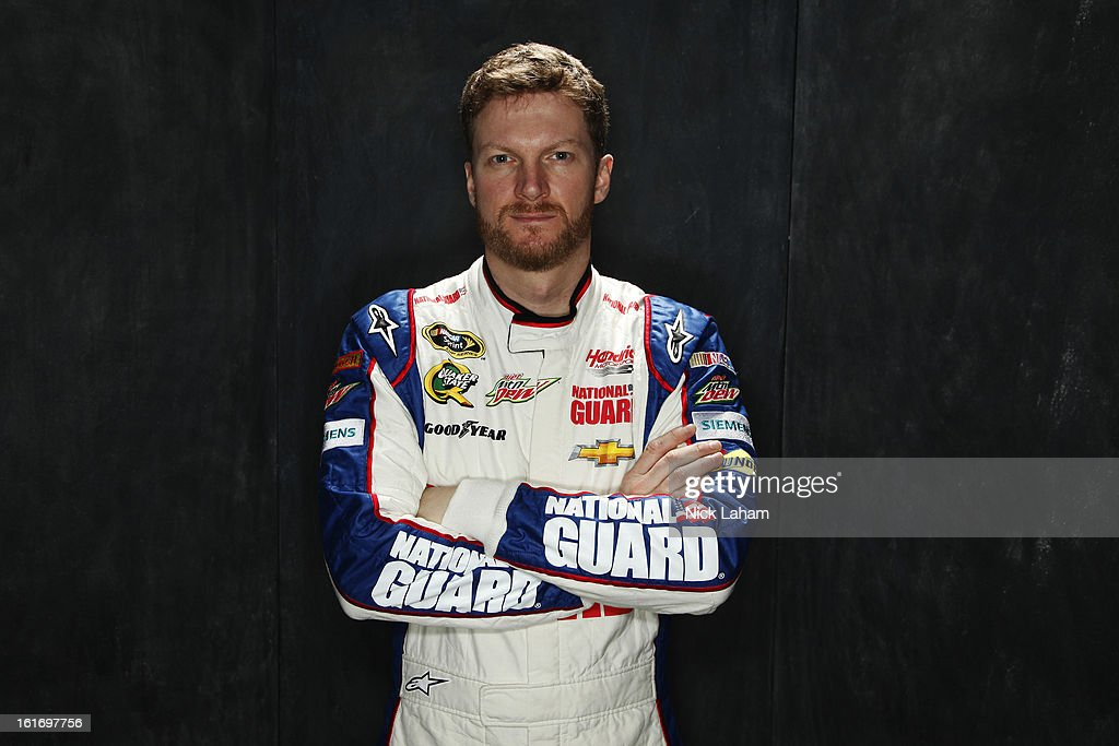 Driver Dale Earnhardt Jr. poses during portraits for the 2013 NASCAR Sprint Cup Series at Daytona International Speedway on February 14, 2013 in Daytona Beach, Florida.