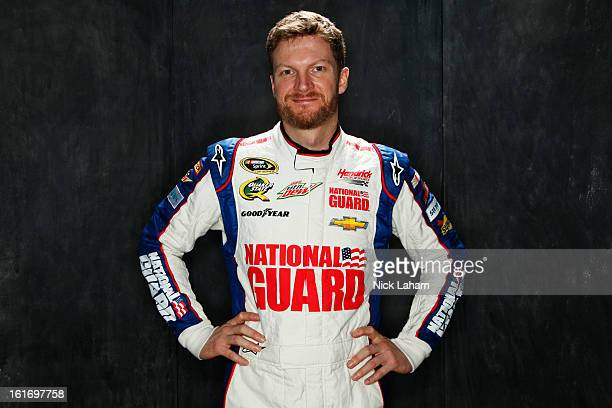 Driver Dale Earnhardt Jr poses during portraits for the 2013 NASCAR Sprint Cup Series at Daytona International Speedway on February 14 2013 in...