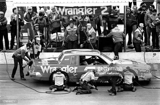 NASCAR driver Dale Earnhardt Sr makes a pit stop during the 1980 Daytona 500 on February 17 1980 at the Daytona International Speedway in Daytona...