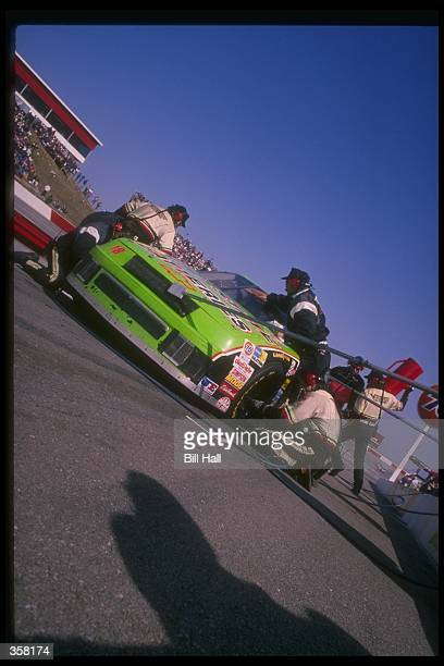 NASCAR driver Dale Jarrett and the Joe Gibbs Racing Chevrolet in for a pit stop during a race Mandatory Credit Bill Hall /Allsport