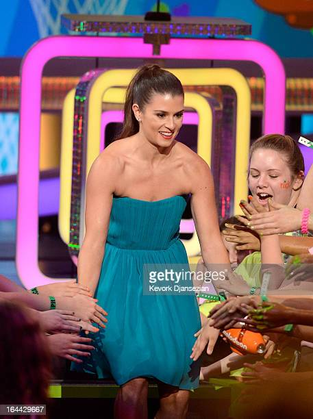 NASCAR driver Danica Patrick walks onstage during Nickelodeon's 26th Annual Kids' Choice Awards at USC Galen Center on March 23 2013 in Los Angeles...