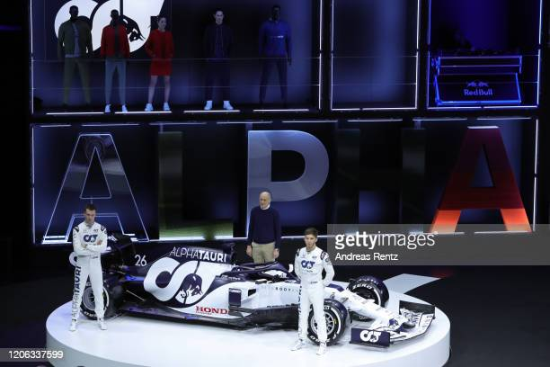F1 driver Daniil Kvyat Team Principal Franz Tost and F1 driver Pierre Gasly present the 2020 F1 car AT01 during the Scuderia AlphaTauri launch event...