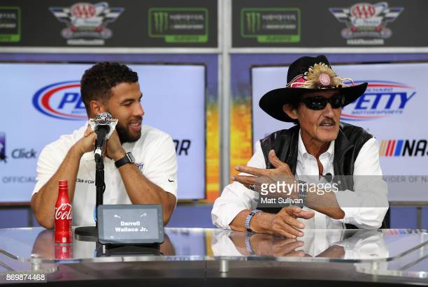 NASCAR driver Darrell Wallace Jr and team owner Richard Petty attend a press conference at Texas Motor Speedway on November 3 2017 in Fort Worth Texas