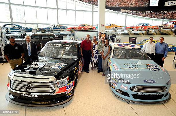 Driver Darrell Wallace Jr., Martinsville president Clay Campbell, members of the Scott family, driver David Ragan and NASCAR Hall of Fame executive...