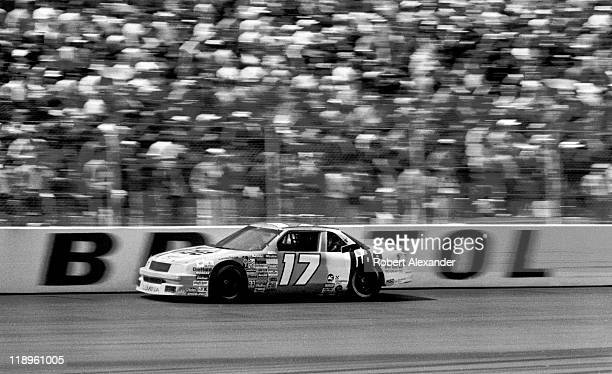 NASCAR driver Darrell Waltrip speeds past the grandstands during the 1989 Valley 500 on April 9 1989 at the Bristol Motor Speedway in Bristol...