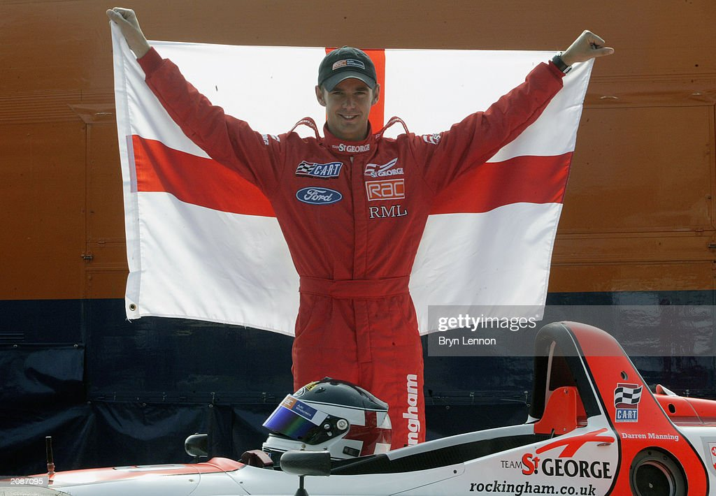 Driver Darren Manning of Great Britain poses during the official launch of Team St George in the Cart Fedex Championship at Brooklands Museum, Weybridge on September 5, 2002.