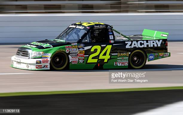 Driver David Starr takes practice laps at the Texas Motor Speedway Thursday November 5 in Fort Worth Texas