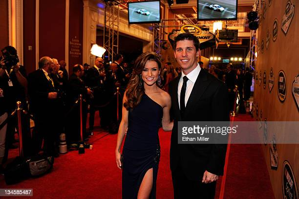 Driver Denny Hamlin and girlfriend Jordan Fish attend the NASCAR Sprint Cup Series Champion's Week Awards Ceremony at Wynn Las Vegas on December 2...