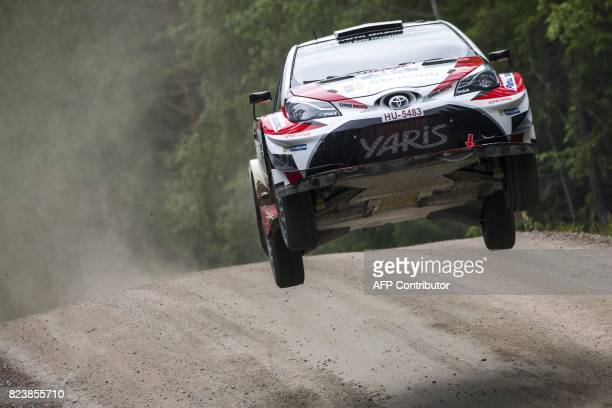Driver Esapekka Lappi of Finland and his codriver Janne Ferm of Finland steer their Toyota Yaris WRC during 7th stage Jukojärvi of the Neste Rally...