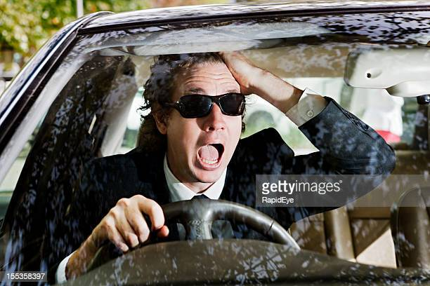 driver expresses shock, fear or horror - horrible car accidents stock pictures, royalty-free photos & images