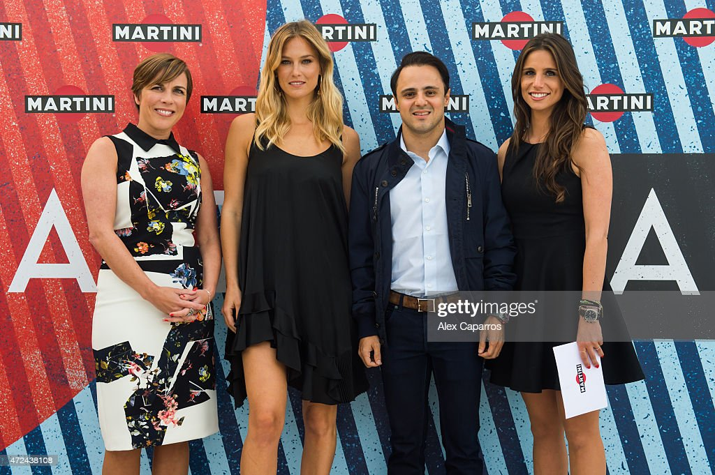 RACING driver Felipe Massa (2nd R), Spanish sports presenter Lucia Villalon (R) and Williams Deputy Team Principle and Commercial Director Claire Williams (L) join model Bar Refaeli (2nd L) as she's announced as global MARTINI race ambassador. The VIP party kicked off the European Formula One season at Terrazza MARTINI in style at Port Vell, Barcelona on Thursday 7 May 2015. Terrazza MARTINI is open throughout the Spanish Grand Prix weekend.