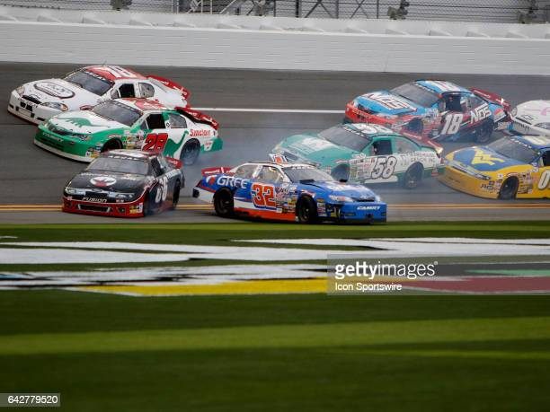 ARCA driver Gus Dean and Mark Thompson crash during the ARCA Lucas Oil 200 on February 18 at Daytona International Speedway in Daytona FL