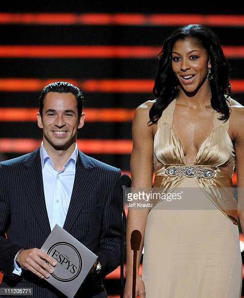 IRL driver Helio Castroneves and WNBA player Candace Parker the 'Best Female International Athlete' award onstage during the 2008 ESPY Awards held at...