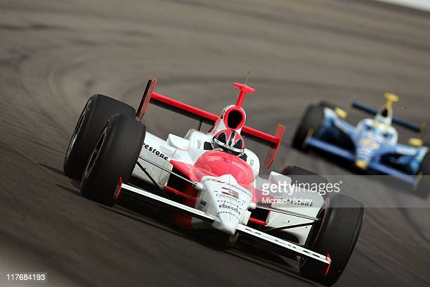 IRL driver Helio Castroneves practices for the Indy 500 at the Indianapolis Motor Speedway on May 11 2005