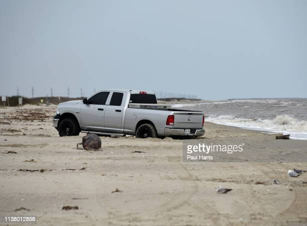 A driver in a pick up gets stuck March 18 2019 at Holly Beach Louisiana
