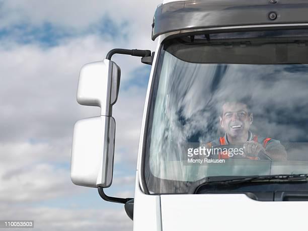 Driver in truck cab