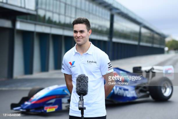 Driver James Golding speaks to the media during the announcement that the S5000 support category is returning to the Formula 1 Australian Grand Prix...