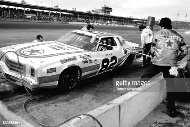 NASCAR driver Janet Guthrie makes a pit stop during the running of the 1980 Daytona 500 stock car race at Daytona International Speedway in Daytona...