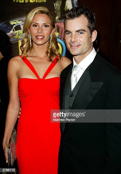 NASCAR driver Jeff Gordon and girlfriend Amanda Church arrive at the 2003 NASCAR Winston Cup Awards at the Waldorf Astoria Hotel December 05 2003 in...