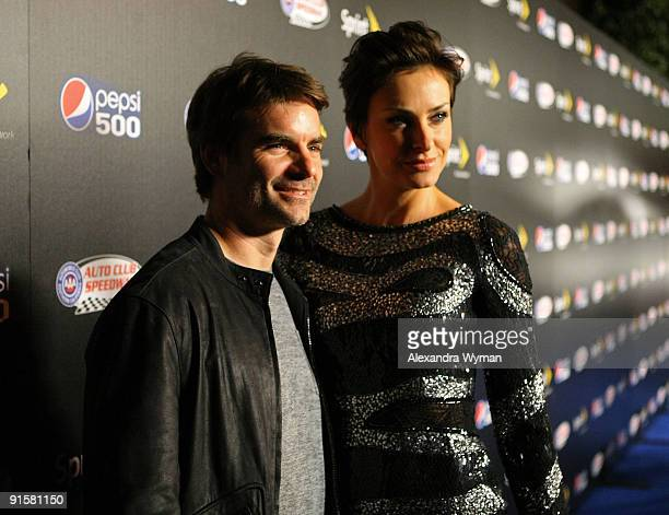 NASCAR driver Jeff Gordon and guest arrive at The Pepsi 500 Auto Club Speedway Celebration held at the Roosevelt Hotel on October 7 2009 in Hollywood...