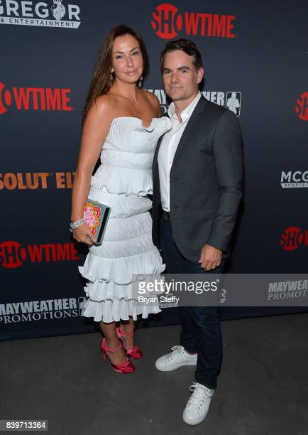 NASCAR driver Jeff Gordon and guest attend the Showtime WME IME and Mayweather Promotions VIP PreFight party for Mayweather vs McGregor at TMobile...